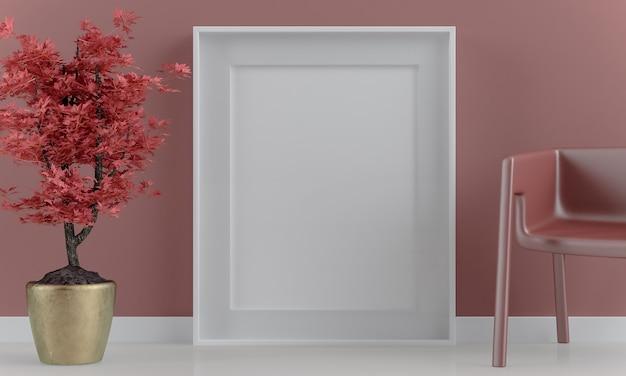 Vertikales plakatrahmenmodell auf rotem japanischem hintergrund-3d-rendering