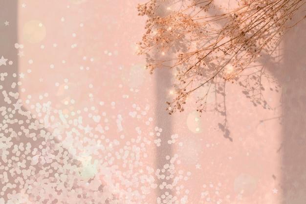 Verträumter hintergrund mit konfetti und blume