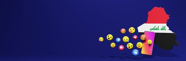 Verwenden sie emoticon von social media im irak für die bedürfnisse von social media-tv und website-hintergrundcover