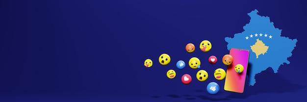 Verwenden sie emoticon von social media im kosovo für die bedürfnisse von social media-tv und website-hintergrundcover