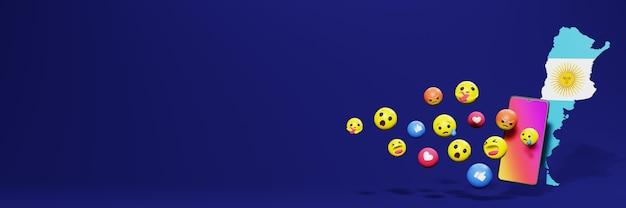 Verwenden sie emoticon von social media in argentinien für die bedürfnisse von tv- und website-hintergrundbildern