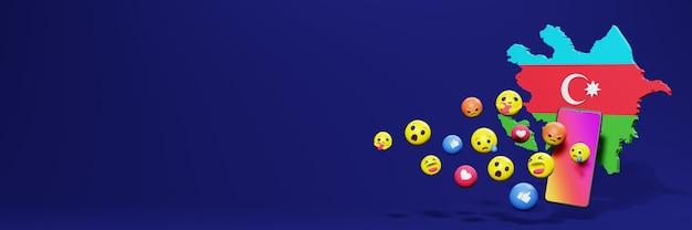 Verwenden sie emoticon von social media in aserbaidschan für die bedürfnisse von tv- und website-hintergrundbildern