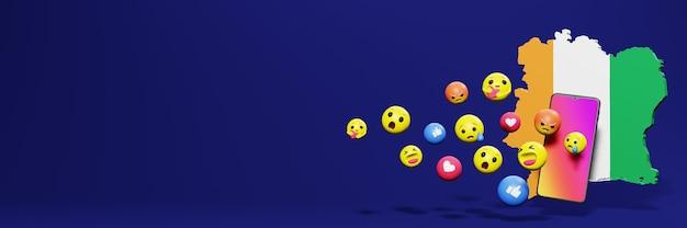 Verwenden sie emoticon von social media in der elfenbeinküste für die bedürfnisse von social media-tv und website-hintergrund