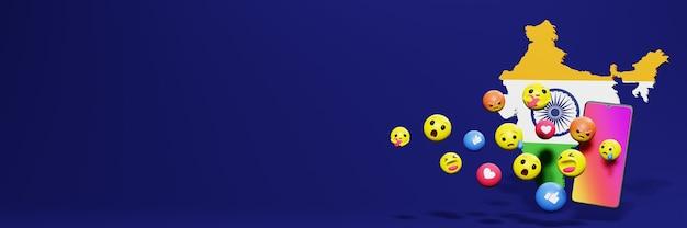 Verwenden sie emoticon von social media in indien für die bedürfnisse von social media-tv und website-hintergrundcover