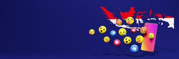 Verwenden sie emoticon von social media in indonesien für die bedürfnisse von social media-tv und website-hintergrund
