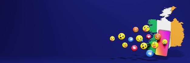 Verwenden sie emoticon von social media in irland für die bedürfnisse von social media-tv und website-hintergrund
