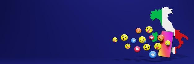 Verwenden sie emoticon von social media in italien für die bedürfnisse von social media-tv und website-hintergrundcover