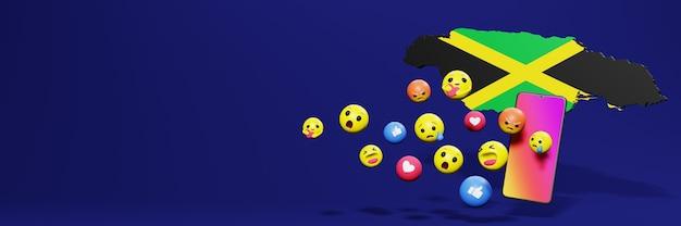 Verwenden sie emoticon von social media in jamaika für die bedürfnisse von social media-tv und website-hintergrund