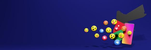 Verwenden sie emoticon von social media in jordanien für die bedürfnisse von social media-tv und website-hintergrundcover