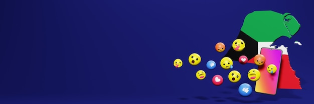Verwenden sie emoticon von social media in kuwait für die bedürfnisse von social media-tv und website-hintergrundcover