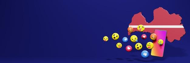 Verwenden sie emoticon von social media in lettland für die bedürfnisse von social media-tv und website-hintergrundcover