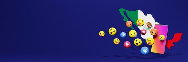 Verwenden sie emoticon von social media in mexiko für die bedürfnisse von social media-tv und website-hintergrundcover