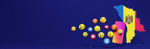 Verwenden sie emoticon von social media in moldawien für die bedürfnisse von social media-tv und website-hintergrund