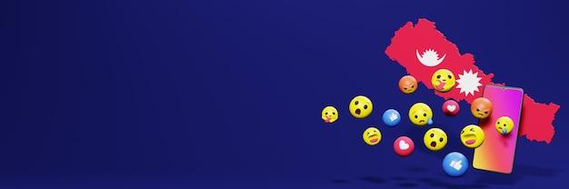 Verwenden sie emoticon von social media in nepal für die bedürfnisse von social media-tv und website-hintergrundcover