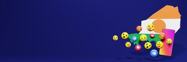 Verwenden sie emoticon von social media in niger für die bedürfnisse von social media-tv und website-hintergrundcover