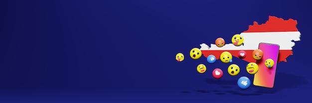 Verwenden sie emoticon von social media in österreich für die bedürfnisse von tv- und website-hintergrund-cover-leerzeichen