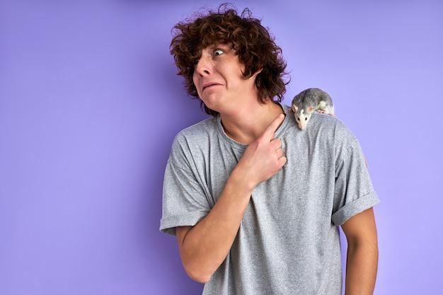 Verwirrter männlicher zeigefinger bei ratte auf seinen schultern, dekorative ratte kriecht auf seinem t-shirt, isoliert auf lila hintergrund