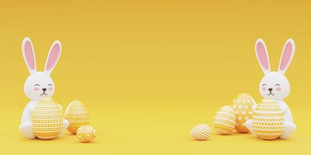 Verzierte hasen- und ostereier auf gelbem hintergrund. konzept der osternfeiertage. 3d-wiedergabe.