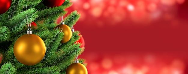 Verzierter weihnachtsbaum auf rotem unscharfem hintergrund. 3d-rendering-illustration.