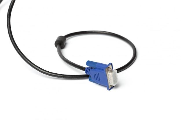 Vga-technologie-pc-eingangskabelverbinder lokalisiert auf weiß
