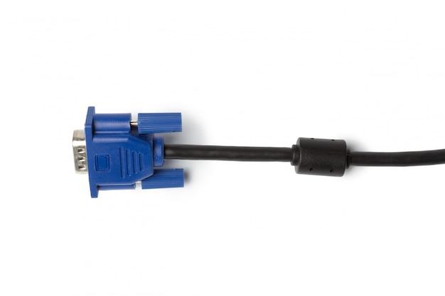 Vga-technologie-pc-eingangskabelverbinder lokalisiert auf weißem hintergrund