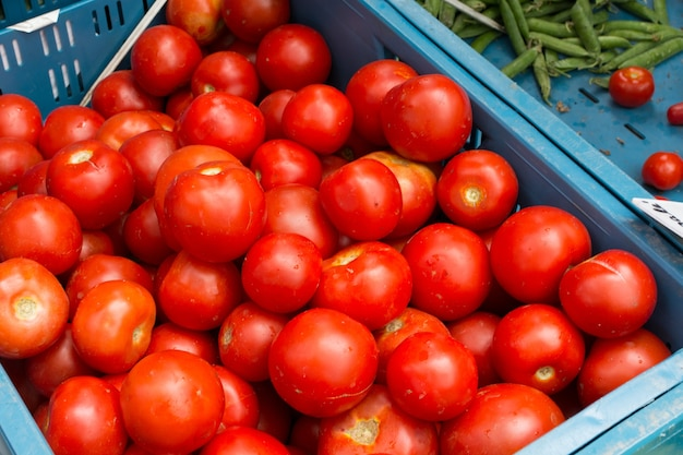 Vibrierende rote tomaten zu verkaufen