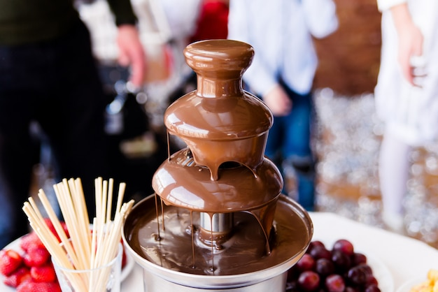 Vibrierendes bild des schokoladenbrunnens fontain auf kinder scherzt geburtstagsfeier