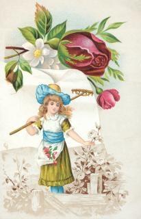 Victorian handels-karte gartenarbeit mädchen