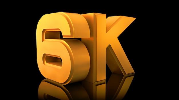Video 6k-logo. große dreidimensionale buchstaben.