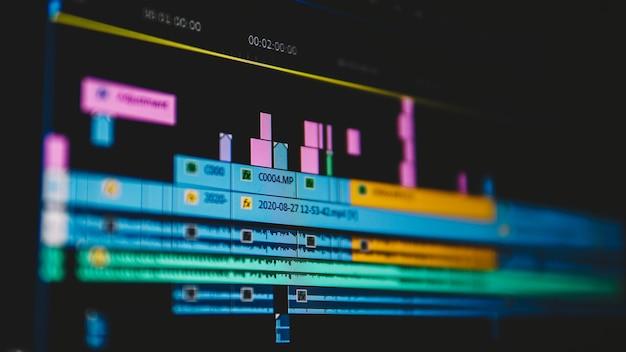 Videobearbeitungszeitleiste aus der nähe