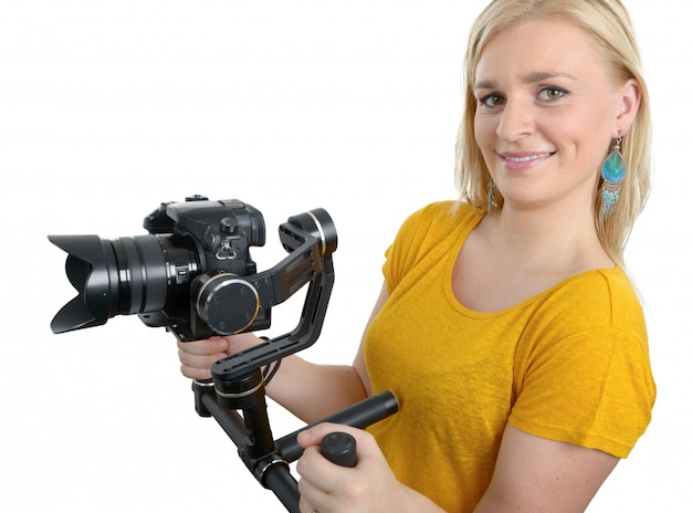 Videofilmerin mit fester kamera,