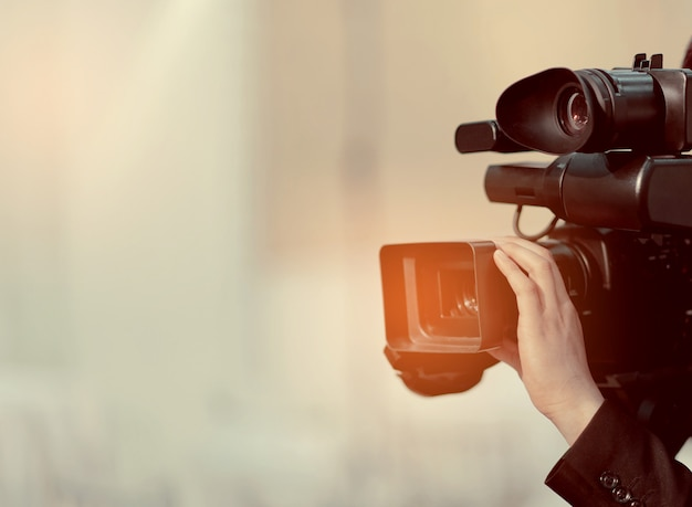 Videokamera, videofilmer nahaufnahme, kameramann, film