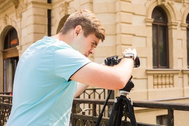 Videooperator in arbeit