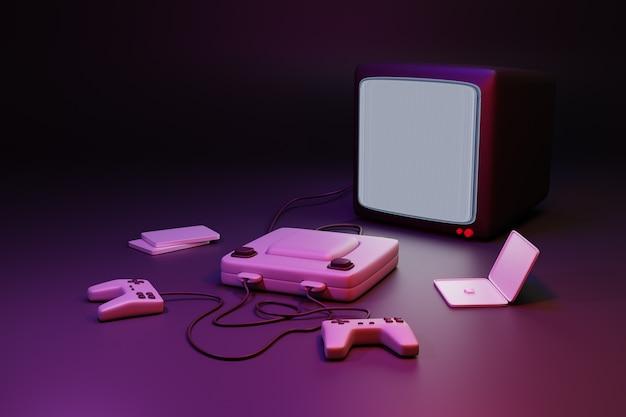 Videospiel und konsole mit tv