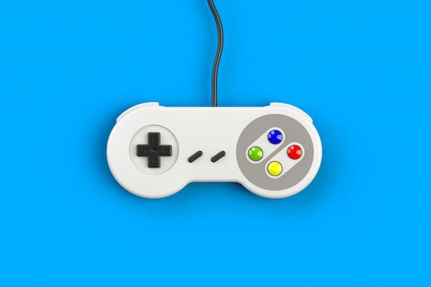 Videospielkonsole gamepad. gaming-konzept. retro- steuerknüppel der draufsicht lokalisiert, wiedergabe 3d