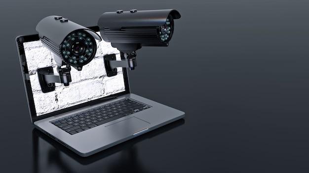 Videoüberwachungskamera und laptop