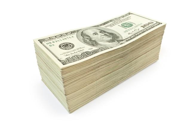 Viel geld isoliert auf weißem hintergrund