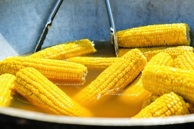 Viel kochte goldene maiskolben. auf holzstöcken durchbohrt. in einem topf kochen.