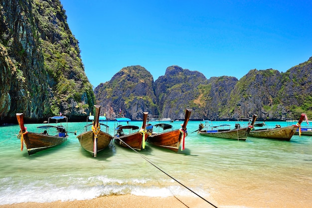 Viel traditionelles thailändisches boot in phi phi-insel.