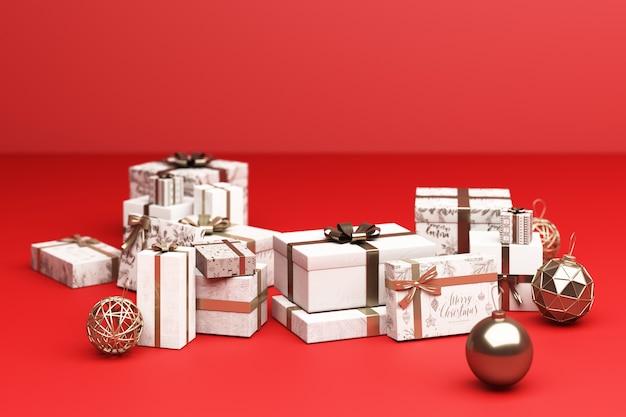Viel weiße und goldene geschenkbox auf 3d-rendering des roten hintergrunds