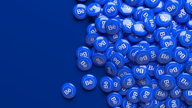 Viele 3d behance glänzende pillen über einem blauen hintergrund