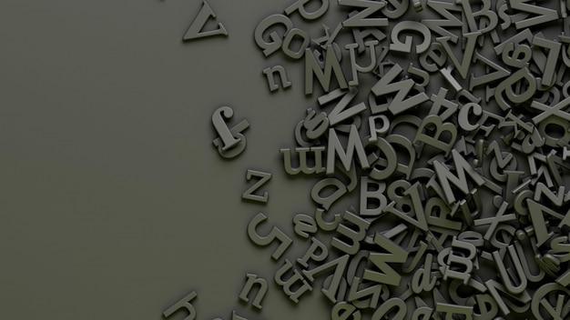 Viele 3d-buchstaben des schwarzen alphabets über einem schwarzen hintergrund
