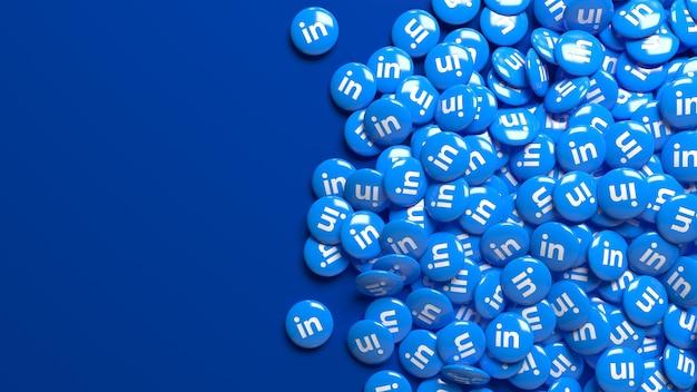 Viele 3d linkedin hochglanzpillen über einem dunkelblauen hintergrund