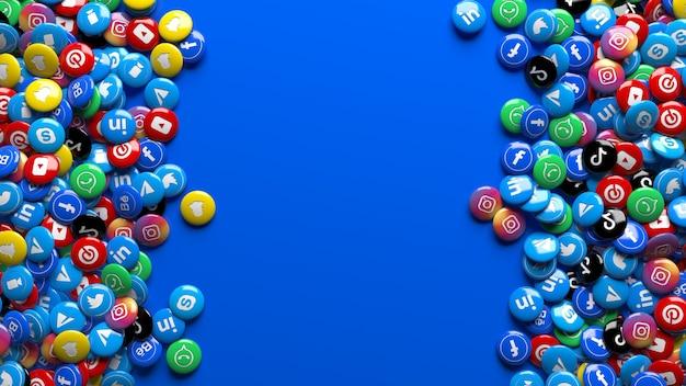 Viele 3d-mehrfarbige hochglanzpillen des sozialen netzwerks über einem blauen hintergrund