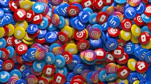 Viele 3d mehrfarbige soziale netzwerk hochglanzpillen in einer nahaufnahme