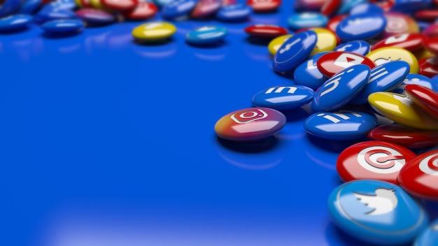 Viele 3d mehrfarbige soziale netzwerk hochglanzpillen in einer perspektive nahaufnahme