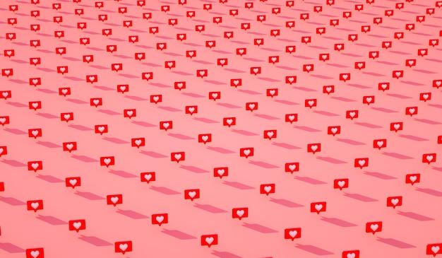 Viele 3d-social-media-benachrichtigungen lieben wie herzsymbol im roten abgerundeten quadratischen stiftmuster. 3d rendern