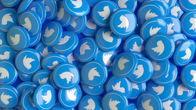 Viele 3d-twitter-hochglanzpillen in nahaufnahme