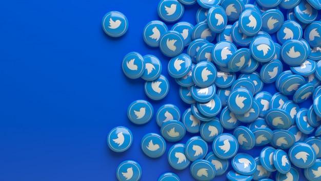 Viele 3d-twitter-hochglanzpillen über einem blauen hintergrund