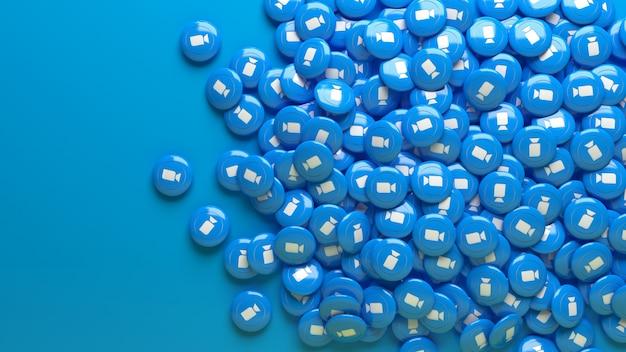 Viele 3d-zoom-hochglanzpillen über einem hellblau